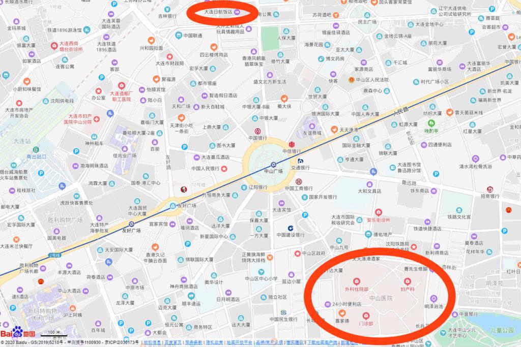 病院と大連日航ホテルの位置関係を示した地図