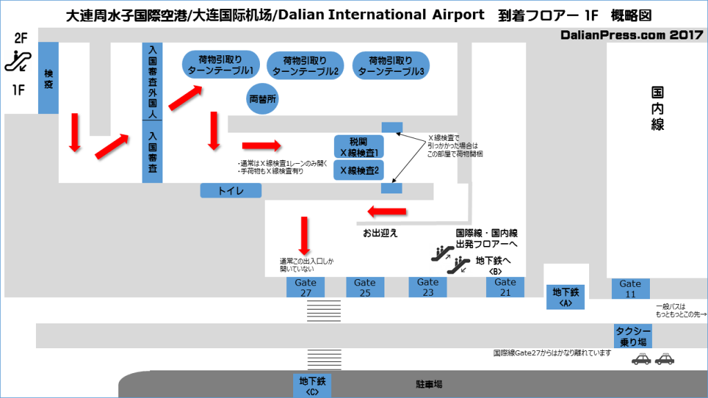 大連周水子国際空港/大连国际机场/Dalian International Airport 到着フロアー 1F フロアーガイド(Floor Guide)